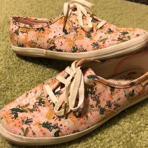 Keds/Rifle Paper Co Pink Floral Sneakers, Sz 7.5